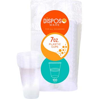 Crystalware Dispoware Plastic Cup, 7 oz., Clear, 1200/CT