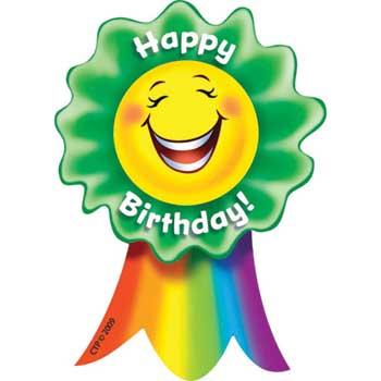"Creative Teaching Press Smiling Ribbon Rewards, Happy Birthday, 3"" x 3 1/2"""