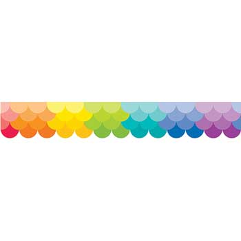 Creative Teaching Press Painted Palette Ombre Rainbow Scallops Border