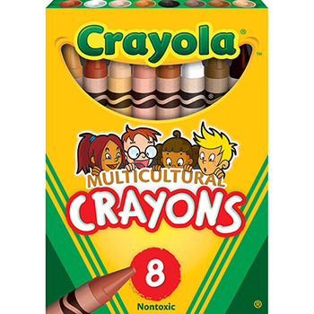 """Crayola® Crayons, Multicultural Colors, Tuck Box, 3 5/8"""" x 5/16"""", 8/BX"""