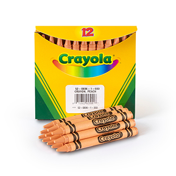 Bulk Crayons, Regular Size, Peach, 12/BX