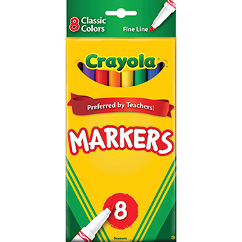 Crayola® ColorMax™ Classic Markers, Fine Line, 8/ST