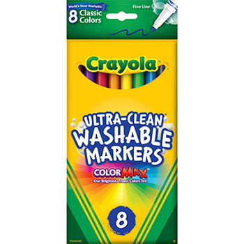 Crayola® ColorMax™ Markers, Ultra-Clean Washable, Classic, Fine Line, 8/ST