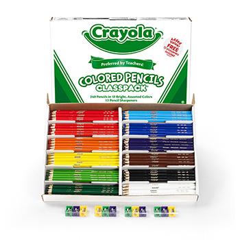 Colored Pencils Classpack, 12 Colors, 240/BX