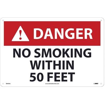 NMC™ Danger Sign, No Smoking Within 50 Feet, 12'' x 18'', Aluminum