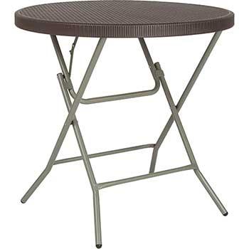 "Flash Furniture Folding Table, 31.5"" Round, Plastic/Rattan, Brown"
