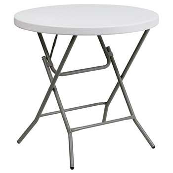 "Flash Furniture Round Folding Table, Plastic, Granite White, 32"""