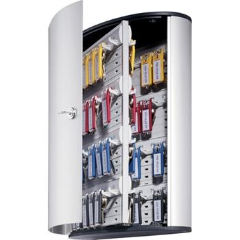 "Durable® Brushed Aluminum Keyed Lock 72-Key Cabinet, 11-9/10"" W x 15-4/5"" H x 4-4/5"" D"