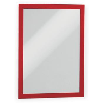 "Durable® Duraframe® Self-Adhesive Magnetic Letter Sign Holder For 8.5"" x 11"" Insert, Red, 2/PK"