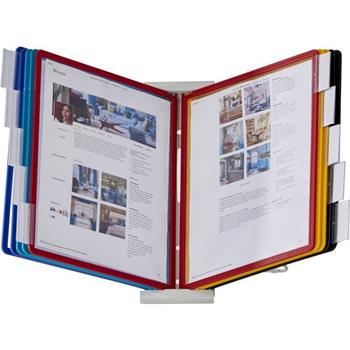 Durable® INSTAVIEW® Desktop Reference Display System, Assorted Colors, 10 Double Sided Panels