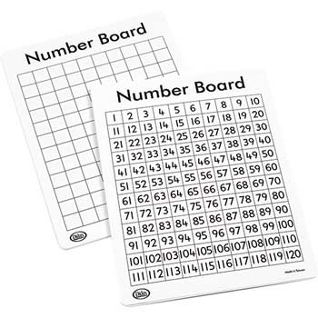 Didax Write-On/Wipe-Off 120 Number Mats, Set of 10