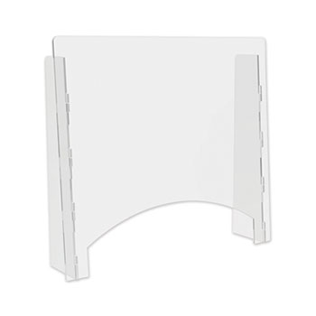 """deflecto® Counter Top Barrier with Pass Thru, 27"""" x 6"""" x 23.75"""", Polycarbonate, Clear, 2/CT"""