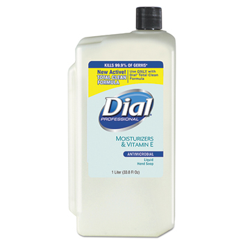 Liquid Dial Antimicrobial with Moisturizers and Vitamin E, 1-Liter Refill, 8/CT
