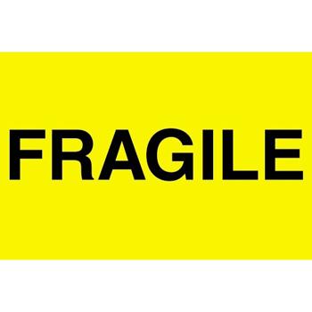 "Tape Logic® Labels, Fragile"", 2"" x 3"", Fluorescent Yellow, 500/RL"