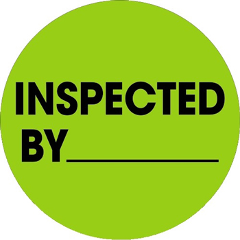 """Tape Logic® Labels, Inspected By, 1"""" Circle, Fluorescent Green, 500/RL"""