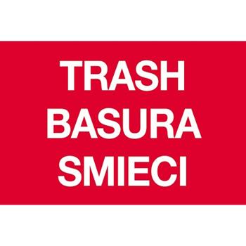 "Tape Logic® Rectangle Labels, Trash/Basura/Smieci"", 2"" x 3"", Red, 500/RL"