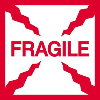 "Labels, Fragile"", 2"" x 2"", Red/White, 500/RL"