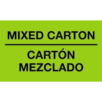 """Tape Logic® Bilingual Labels, Mixed Carton - Carton Mezclado"""", 3"""" x 5"""", Fluorescent Green, 500/RL"""