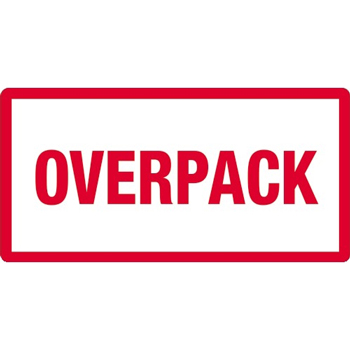 "Labels, Overpack, 3"" x 6"", Red/White, 500/RL"