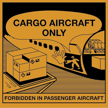 "Labels, Cargo Aircraft Only, 4 1/4"" x 4 1/4"", Orange/Black, 500/RL"