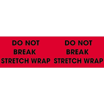 "Labels, Do Not Break Stretch Wrap, 3"" x 10"", Fluorescent Red, 500/RL"