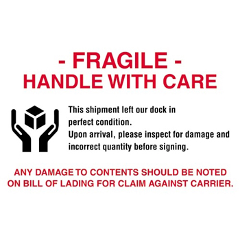 """Tape Logic® Labels, Fragile - Handle With Care"""", 4"""" x 6"""", Red/White/Black, 500/RL"""