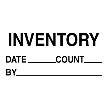 "Tape Logic® Labels, Inventory - Date - Count - By, 3"" x 5"", Black/White, 500/RL"