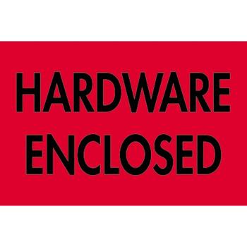 "Tape Logic® Labels, Hardware EncloseD, 2"" x 3"", Fluorescent Red, 500/RL"