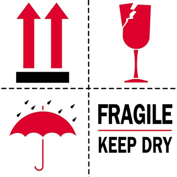 "Tape Logic® Labels, Fragile - Keep Dry, 4"" x 4"", Red/White/Black, 500/RL"