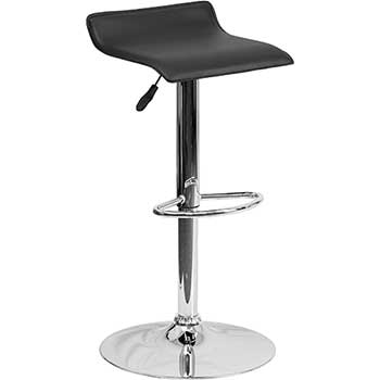 Contemporary Adjustable Height Barstool with Solid Wave Seat and Chrome Base, Vinyl, Black