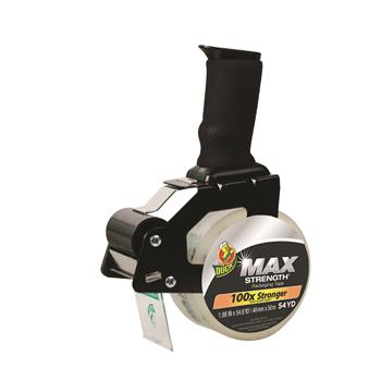 """Duck® MAX Packaging Tape with Heavy-Duty Dispenser, 1.88"""" x 54.6 yds, 3"""" Core, Clear"""