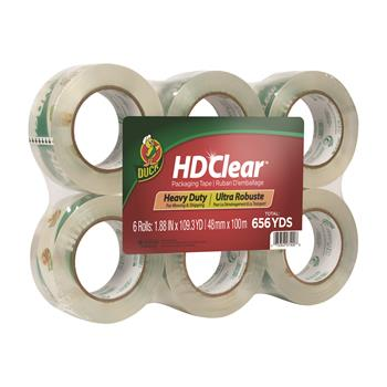 """Duck® Heavy-Duty Carton Packaging Tape, 1.88"""" x 110 yards, Clear, 6/Pack"""