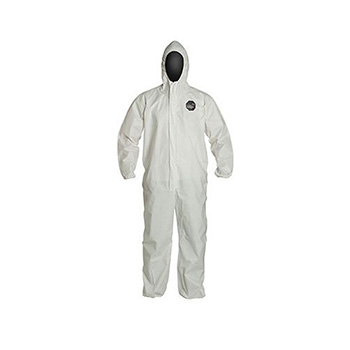 ProShield® 60 Hooded Coveralls, Elastic Wrists and Ankles, White, 4X-Large, 25/CS