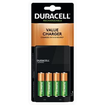 Duracell® Value Charger, Includes 4 AA Premium NiHM Batteries