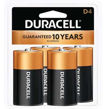 Coppertop® D Alkaline Batteries, 4/PK