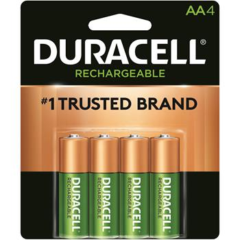 Duracell® Rechargeable AA NiMH Batteries, 4/PK