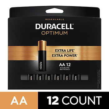 Duracell® Optimum Alkaline Batteries, AA, 12/PK