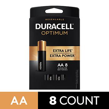 Duracell® Optimum Alkaline Batteries, AA, 8/PK