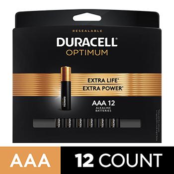 Duracell® Optimum Alkaline Batteries, AAA, 12/PK
