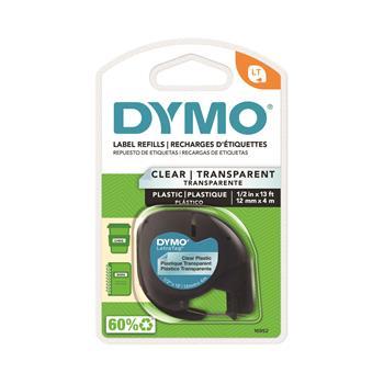 """DYMO® LetraTag Plastic Label Tape Cassette, 1/2"""" x 13ft, Clear"""