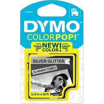"""DYMO® POP 0.5""""x10' Black/Silver Glitter Tape"""