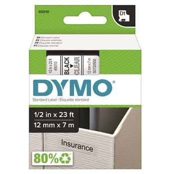 DYMO® D1 Standard Tape Cartridge for Dymo Label Makers, 1/2in x 23ft, Black on Clear