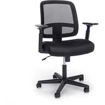 Essentials Collection Mesh Back Chair with Adjustable Arms, Black