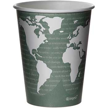 World Art Renewable/Compostable Hot Cups, 12 oz, Gray, 50/Pack