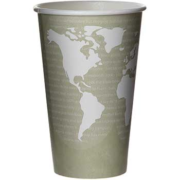 Eco-Products® World Art Renewable & Compostable Hot Cups - 16 oz., 50/PK, 20 PK/CT