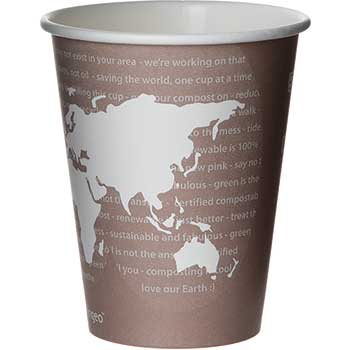 Eco-Products® World Art Renewable/Compostable Hot Cups, 8 oz, Plum, 50/Pack, 10 Pack/Carton