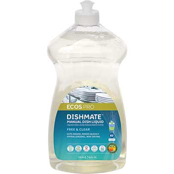 Earth Friendly Products ECOS™ Dishmate Manual Dish Soap, Free & Clear, 25 oz., 6/CT