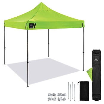 Shax® 6000 Heavy-Duty Commercial Pop-Up Tent, 10' X 10', Hi-Vis Lime