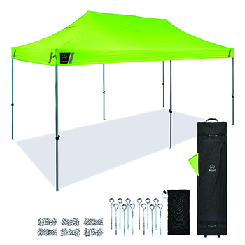 Shax® 6015 Heavy-Duty Commercial Pop-Up Tent, 10' X 20', Hi-Vis Lime