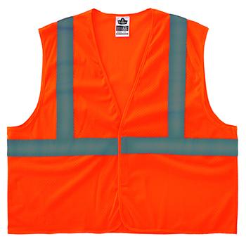ergodyne® Glowear® 8205Hl Type R Class 2 Super Econo Mesh Vest, Large/X-Large, Hi-Vis Orange